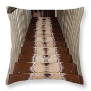 Footsteps On Wooden Stairs Throw Pillow