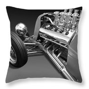 Ford Coupe Hot Rod Engine In Black And White Throw Pillow
