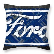 Ford Motor Company Retro Logo License Plate Art Throw Pillow