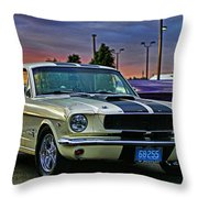 Ford Mustang At Sunset Throw Pillow