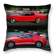 Ford Mustang Old Or New Throw Pillow