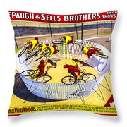 Forepaugh And Sells Wild Wheel Whirl Wonders Throw Pillow