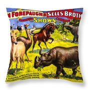Forepaugh And Sells Wondrous Wild Beasts Throw Pillow