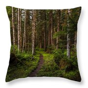 Forest Alder Path Throw Pillow by Mike Reid