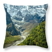 Forest And Mountains In Himalayas Throw Pillow