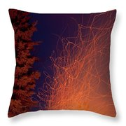 Forest Fire Danger Hot Spark Trails From Campfire Throw Pillow