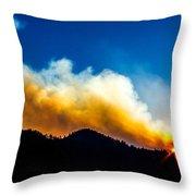 Forest Fire Sunset Throw Pillow