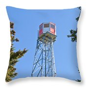 Forest Fire Watch Tower Steel Lookout Structure Throw Pillow