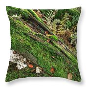 Forest Floor Fungi And Moss Throw Pillow