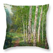 Russian Forest Footpath Throw Pillow