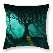 Forest Light Ethereal Fantasy Landscape  Throw Pillow