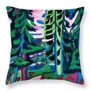 Forest Path In Summer Throw Pillow