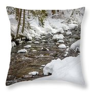 Winter Forest River Throw Pillow