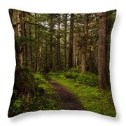 Forest Serenity Path Throw Pillow