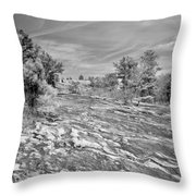 Forest Slope And Sky In Black And White Throw Pillow