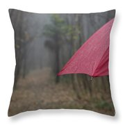 Forest With A Red Umbrella Throw Pillow