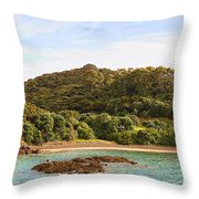Forested Coast Line Throw Pillow