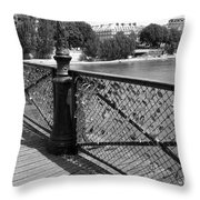 Forever Love In Paris - Black And White Throw Pillow