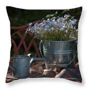 Forget-me-nots And Small Watering Can  Throw Pillow