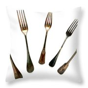 Forks Throw Pillow by Olivier Le Queinec