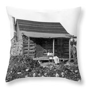 Former Slaves At Their Cabin Throw Pillow