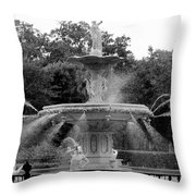Forsyth Park Fountain - Black And White 2x3 Throw Pillow