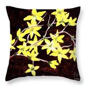 Forsythia Branches Throw Pillow