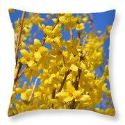 Forsythia On Blue Throw Pillow