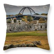 Fort Crown Point Panorama Throw Pillow
