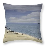 Fort Gratiot Light House Beach Throw Pillow
