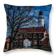 Fort Gratiot Lighthouse And Buildings With Clouds Throw Pillow