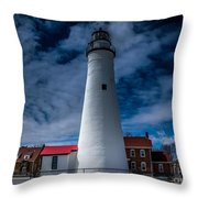 Fort Gratiot Lighthouse From The Water Side Throw Pillow