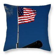 Fort Mchenry Flag And Cannon Throw Pillow