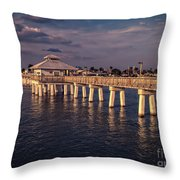 Fort Myers Beach Fishing Pier Throw Pillow