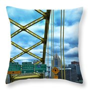 Fort Pitt Bridge And Downtown Pittsburgh Throw Pillow