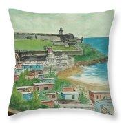 Fort San Felipe Del Morro From Fort San Cristobal Pr Throw Pillow