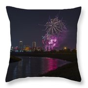 Fort Worth Fourth Of July Fireworks Throw Pillow by Jonathan Davison