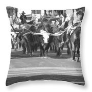 Fort Worth Herd Cattle Drive Throw Pillow