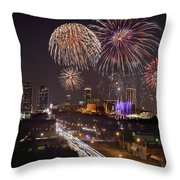 Fort Worth Skyline At Night Fireworks Color Evening Ft. Worth Texas Throw Pillow