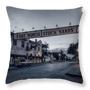 Fort Worth Stockyards Bw Throw Pillow