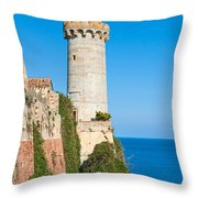Forte Stella Lighthouse - Portoferraio - Elba Island Throw Pillow