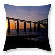 Forth Bridges Sunset Throw Pillow