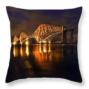 Forth Rail Bridge At Sunset Throw Pillow