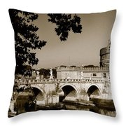 Fortress And Bridge In Sepia Throw Pillow