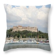 Fortress And Harbor - Cote D'azur Throw Pillow