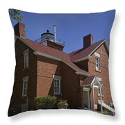 Forty Mile Point Lighthouse In Michigan Number 417 Throw Pillow