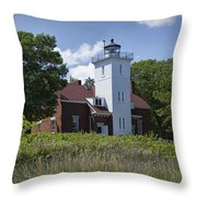 Forty Mile Point Lighthouse In Michigan Number 450 Throw Pillow