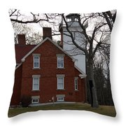 Forty Mile Point Lighthouse Throw Pillow