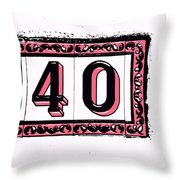 Forty Pink And Black Throw Pillow