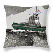 Foss Tractor Tugboat Throw Pillow